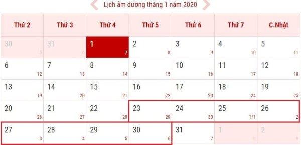Tết Dương lịch, Âm lịch 2020 được nghỉ bao nhiêu ngày?
